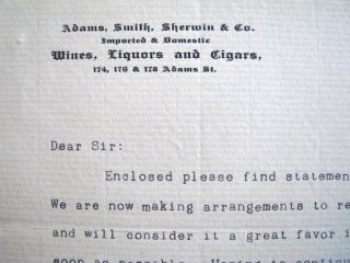 old 1887 ADAMS, SMITH, SHERWIN & CO WINES LIQUORS letterhead CHICAGO