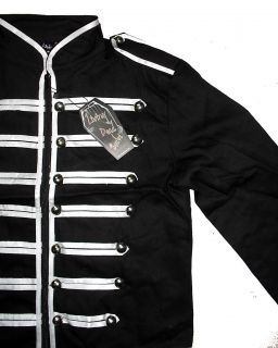 Black Silver Military Jacket Goth Adam Ant s M L XL Goth Cyber Punk