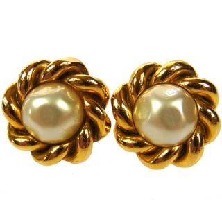 Authentic Chanel Vintage CC Logos Gold Clip on Earrings Faux Pearl