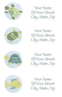 30 Cocalo Turtle Reef Return Address Labels Boy Baby Shower Turtle
