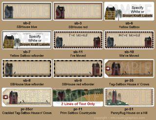 Primitive Saltbox House Address Labels 16 Designs Custom Personalized