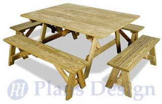 Classic Octagon Picnic Table Woodworking Plans ODF08