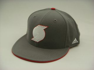 Portland Trail Blazers NBA Grey Red Adidas Fitted Cap