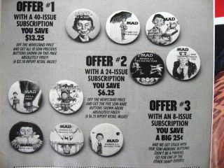 Mad Magazine Who Needs You  Promo Pinback Button 1987
