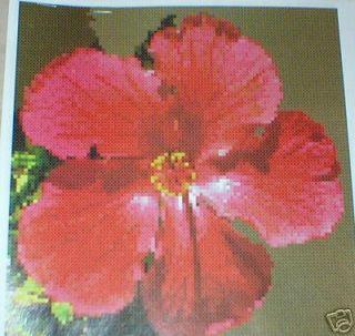 Adriannes Red Hibiscus Flower Cross Stitch Pattern