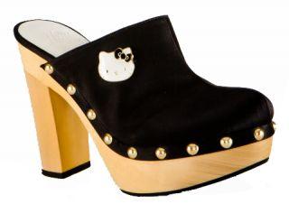Twenty10 Hello Kitty Adelina Black High Heel Platforms Slides Wooden