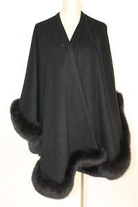 Adrienne Landau Black Wool Cape Shawl with Fox Fur Trim O S