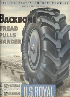 1947 US Royal Farm Tractor Tires Ad Vintage 40s