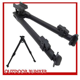 New Adjustable Black Aluminum Bipod with Weaver Picatinny Rail Mount