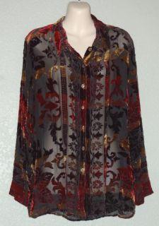 Citron Santa Monica Collection Silk Velvet Burnout Long Sleeve Shirt