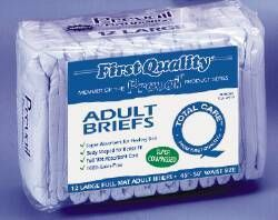 First Quality Adult Briefs Diapers Large Case of 72