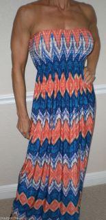 2B BEBE Size XLarge Aerin Smock Print Strapless Maxi Dress New w Tag