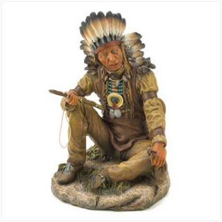 Noble Chief Figurine Native American Indian Statue New