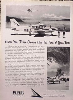1963 Piper Aircraft Airplane Plane Original Vintage Ad