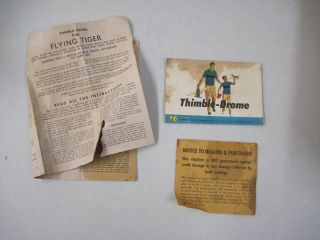 Vintage Thimble Drome P 40 Flying Tiger Military Toy Airplane