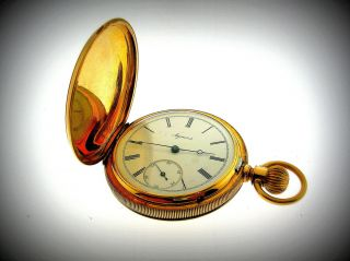AGASSIZ 14K GOLD IMPORTANT AND RARE HUNTER CASE POCKET WATCH   MINTY