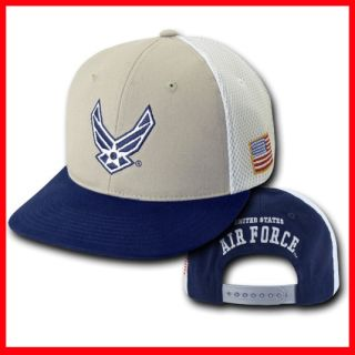 Air Force USAF Flat Bill Snap Back Deluxe Mesh Grey Baseball Cap Hat