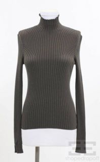 AKRIS Bergdorf Goodman Brown Ribbed Silk Knit Turtleneck Top Size US 6