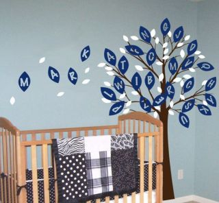 Tree Alphabet Leaves and Custom Name Children Nursery Vinyl Wall Decal