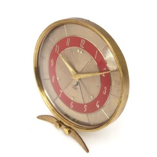 French Modernism 1950s Jaz Desk Brass Alarm Clock