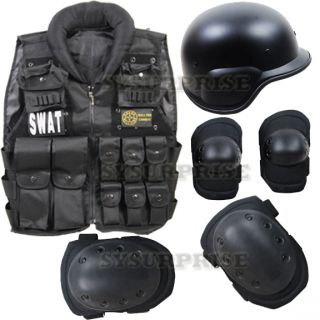 Airsoft Black Protective SWAT Tatical Vest PASGT Helmet Knee Elbow