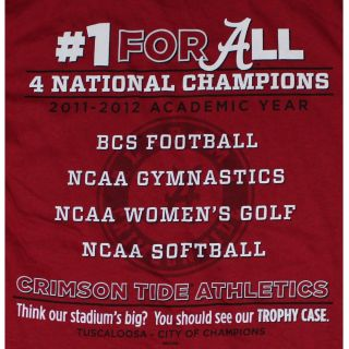 Alabama Crimson Tide Football T Shirts   All 4 Won   2012   4 National