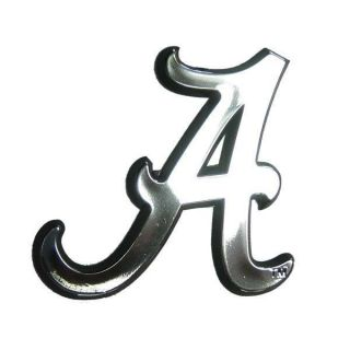 Alabama Crimson Tide Chrome Auto Emblem Car Sticker Al Silver Logo