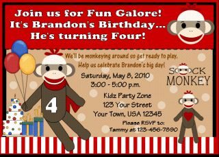 12 Sock Monkey Monkeys Birthday Invitations Party