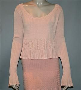 Vintage ALAIA  PARIS Peach w/Knit Ribbing & Scallops Long Sleeve Top