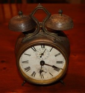 antique brass wind up kenzel double bell alarm clock
