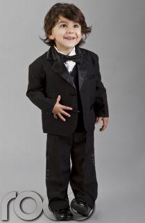 Baby Boys Black Wedding Pageboy Christening Tuxedo Dinner Suit Age 0
