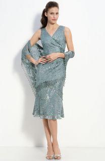 Alex Evenings Lattice Floral Burnout Dress Shawl 10