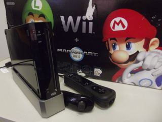Wii Black Console Bundle AV Cables Power Cord Controller More