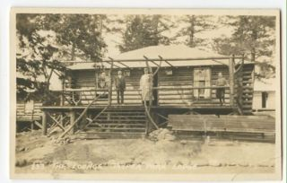 Jasper Park Alberta The Lodge Log Cabin RPPC Jackman CNR Postcard
