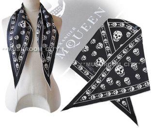 Stylish Alexander McQueen Black & White Skull Scarf NWT
