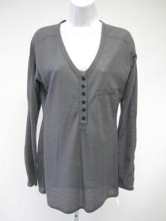 ALEXANDER WANG Gray Cotton Long Sleeve Thermal Knit Shirt Sz L