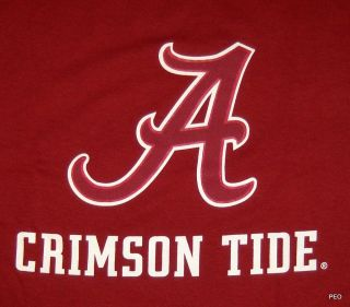 licensed alabama crimson tide cotton t shirt script a size xlarge