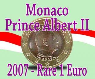 RARE New 1 Euro Coin Prince Albert II Monaco 2007 UNC