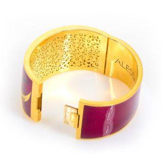 Alessandro Fanfani 18K Yellow Gold Red Enamel Diamond Bangle Bracelet