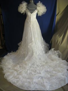 ALFRED ANGELO vtg 80s sz L retro Victorian wedding gown dress