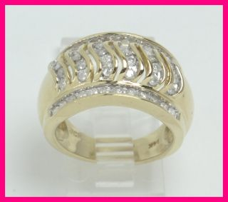 14k Yellow Gold Diamond Wide Band Right Hand Cocktail Ring .96ct