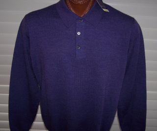 Alan Flusser Merino Wool Long Sleeve Sweater Shirt Sz XL Great Color