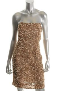 Alice Olivia Gold Mesh Sequined Strapless Cocktail Dress 12 BHFO
