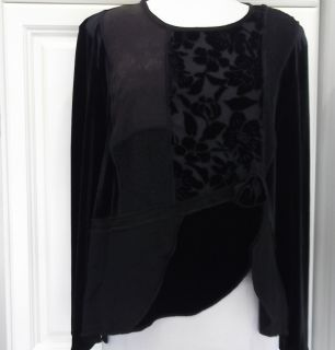Spencer Alexis 14 blk velvet lace burnout jaquard patchwork blouse EUC