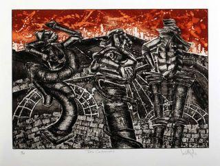 Luis Miguel Valdes 120 Cuban Art Original Print Signed