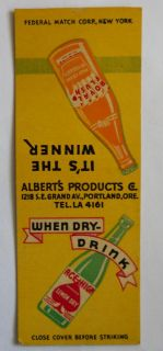 Ace High Lemon Dry Soda MB Alberts Products Portland Or