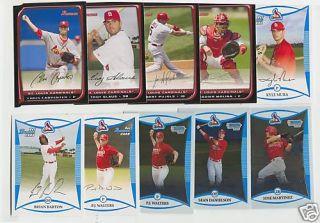 2008 Bowman Cardinals Team Set w Chrome Albert Pujols