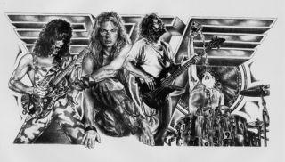 Van Halen Eddie Guitar Drums Sketch Duran Music Concert Poster Print