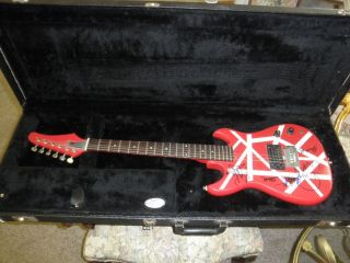 Autographed Art Guitar Alex & Eddie Van Halen David Lee Roth Michael