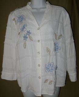 Alfred Dunner Womens Womens White Fringe Top Shirt Blouse Size 14